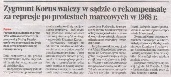 Dziennik Polski 14.01.2014 - Korus